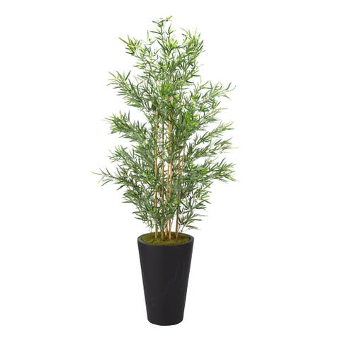 D&W Silks 7-feet Bamboo Tree in Tall Round Black Planter