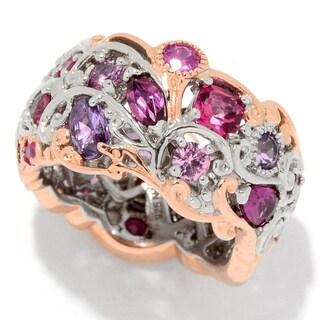 "Michael Valitutti Palladium Silver ""Carnaval"" Multi Pink Gemstone Eternity Band Ring"
