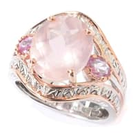 Michael Valitutti Palladium Silver Checkerboard Cut Rose Quartz & Pink Sapphire Ring