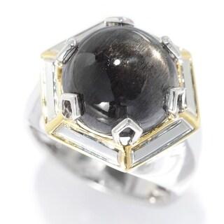 Michael Valitutti Palladium Silver Black Sunstone Polished Hexagon Men's Ring
