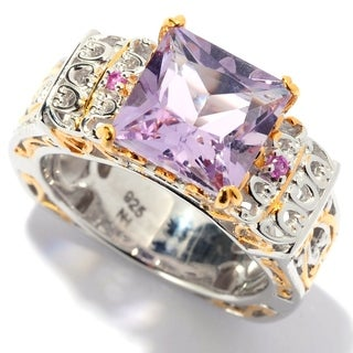 Michael Valitutti Palladium Silver Princess Cut Pink Amethyst & Pink Sapphire Mini Cocktail Ring