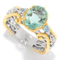 Michael Valitutti Palladium Silver Fluorite & Swiss Blue Topaz Mini Cocktail Ring