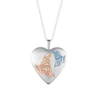 Sterling Silver Double Butterfly Heart Shape Locket Pendant