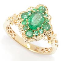 Michael Valitutti 14K Gold Precious Gemstone Emerald & Diamond Shaped Halo Ring