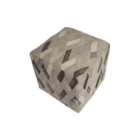 "Decor Maisonette Geometric Leather & Wool Pouf Owen, Grey (18""x18""x18"")"