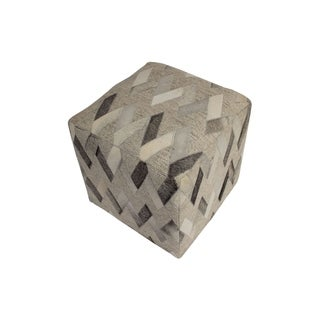 "Decor Maisonette Geometric Leather & Wool Pouf Owen, Grey (18""x18""x18"")"