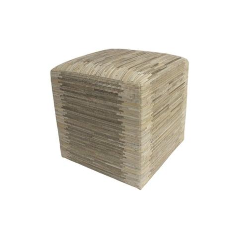 "Decor Maisonette Striped Hide Pouf Maxwell, Beige (18""x18""x18"")"