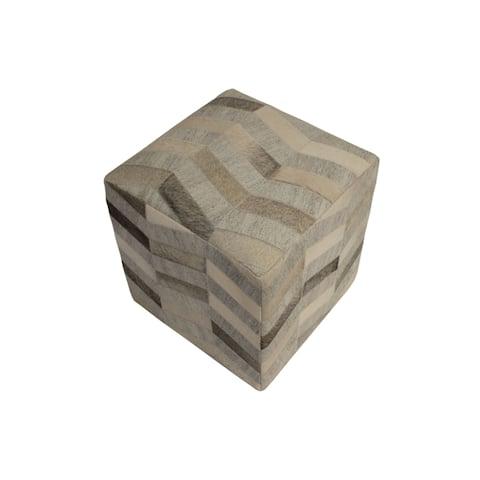 "Decor Maisonette Geometric Pouf Caleb, Brown (18""x18""x18"")"