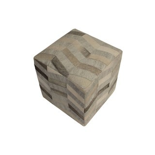 "Decor Maisonette Geometric Pouf Caleb, Brown (18""x18""x18"")"