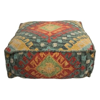 "Decor Maisonette Southwestern Cotton Pouf Hayden, Blue (24""x24""x8"")"