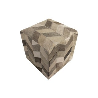 "Decor Maisonette Geometric Hide Pouf Ashton, Grey (18""x18""x18"")"