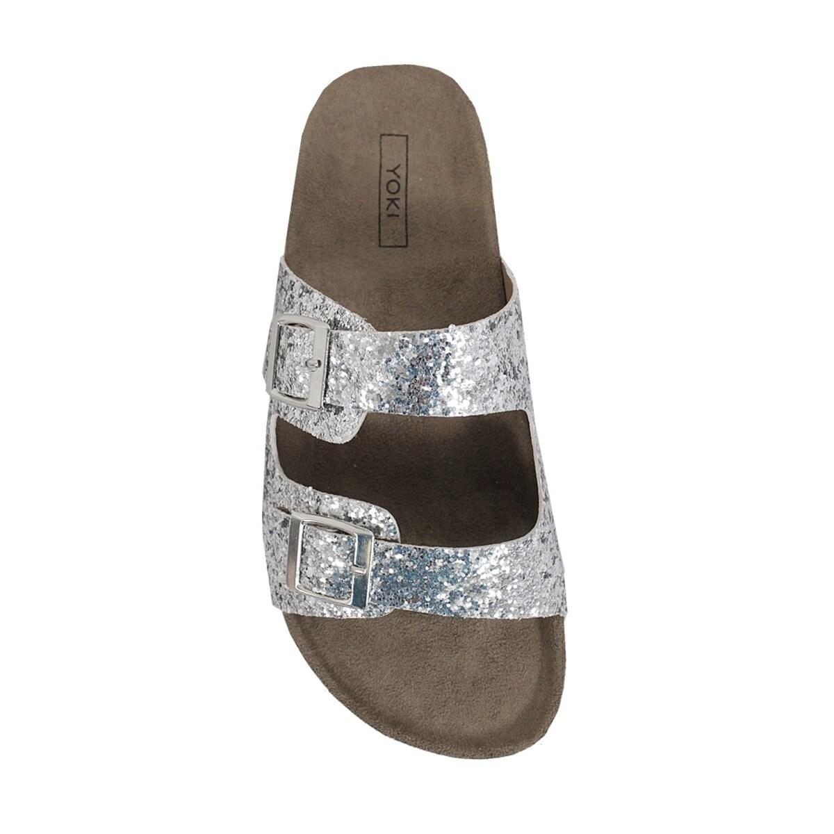 c3056cef7286 Shop YOKI-GIAN-94 women s glittery slip on sandal - Free Shipping On Orders  Over  45 - Overstock - 21024250