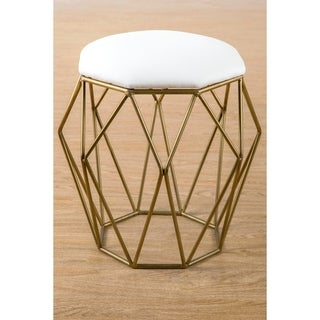 Statements By J Sybelle Stool w/ Gold Base & Linen Top, 19 Inch Tall