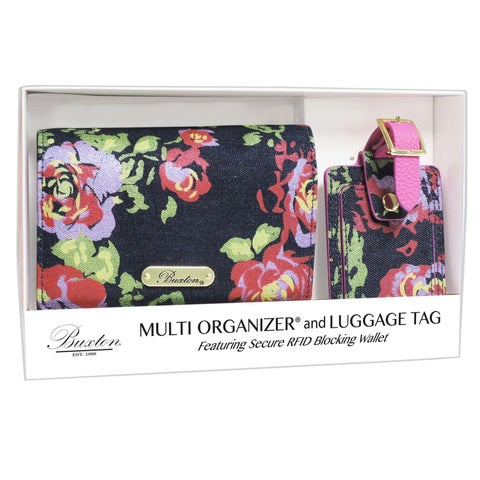 Denim and Roses Multi Organizer Wallet with RFID Luggage Tag