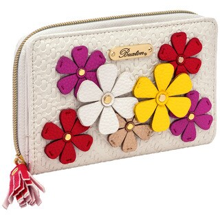 Woven Applique RFID Medium Zip Around Wallet
