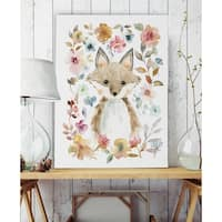 Flowers and Friends Fox - Premium Gallery Wrapped Canvas