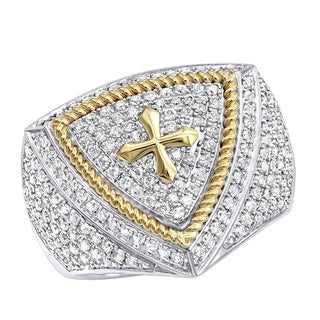 Unique 14k Two-Tone Gold or Yellow Gold Cross Diamond Ring for Men 1.5ctw by Luxurman