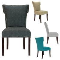 BELLA Wingback TEXTURA Nail Trim Espresso Legs Dining Chair (Set of 2)