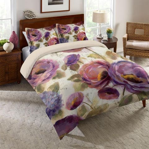 Laural Home Blue and Purple Florals Comforter