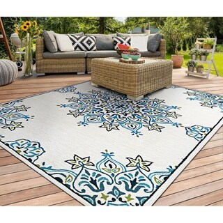 Miami Arabesque Ivory-Teal Indoor/Outdoor Area Rug - 2' x 4'
