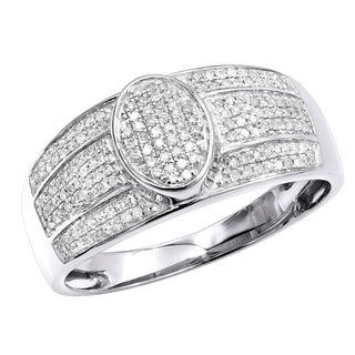 10K Gold Affordable Mens Diamond Ring Pave Diamonds Band 0.3ctw by Luxurman