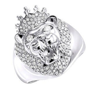 Mens Pinky Ring 14k Gold King Lion Head and Crown Diamond Band 0.5ctw by Luxurman