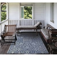 Carriage House Medallion/Navy-Ivory Indoor/Outdoor Area Rug - 7'6 x 10'9