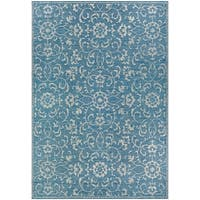 Carriage House Morning Glory/Blue-Ivory Indoor/Outdoor Area Rug - 7'6 x 10'9