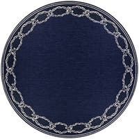 Pergola Link/Ivory-Blue Indoor/Outdoor Round Rug - 7'6 x 7'6
