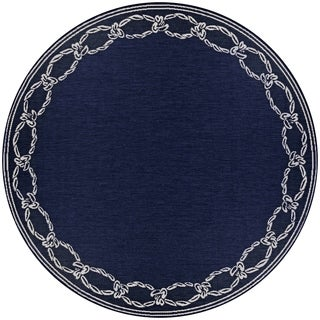 Pergola Link/Ivory-Blue Indoor/Outdoor Round Rug - 7'6 x 7'6