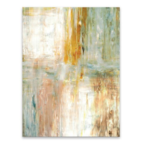 """""""Teal & Green Abstract Painting"""" Acrylic Wall Art - 30W x 40H x .75D - Multi-color"""
