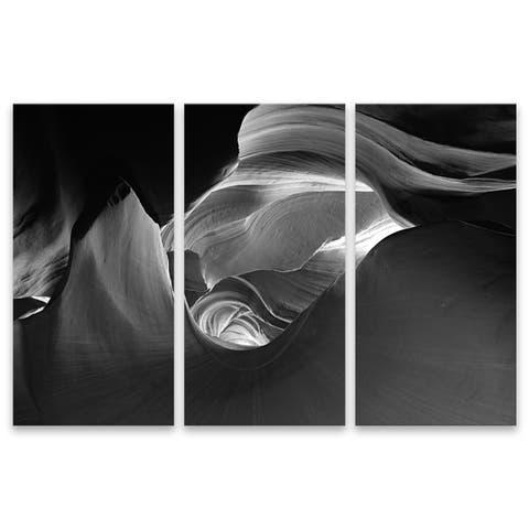 """Inner Space"" Acrylic Wall Art - Set of 3, 15W x 30H x .75D each - Black/Grey/White"