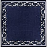 Pergola Link/Ivory-Blue Indoor/Outdoor Square Rug - 7'6 x 7'6