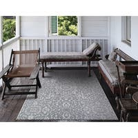 Carriage House Medallion/Gray-Ivory Indoor/Outdoor Area Rug - 7'6 x 10'9