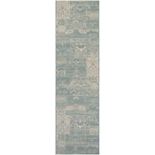 Hampton Dune/ Soft Green- Ivory Indoor/Outdoor Runner Rug (2'2 x 11'9)