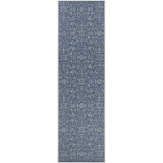 """Carriage House Morning Glory Navy-Ivory Indoor/Outdoor Runner Rug - 2'3"""" x 11'9"""" Runner"""