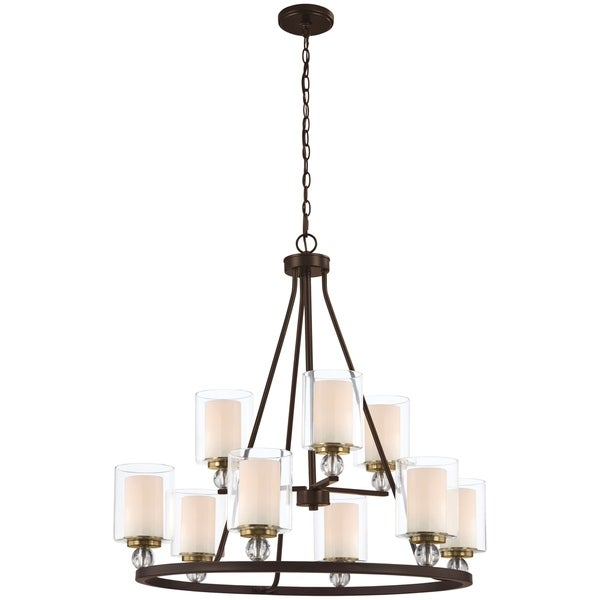 Minka Lavery Studio 5 Chandelier in Painted Bronze with Natural Brush
