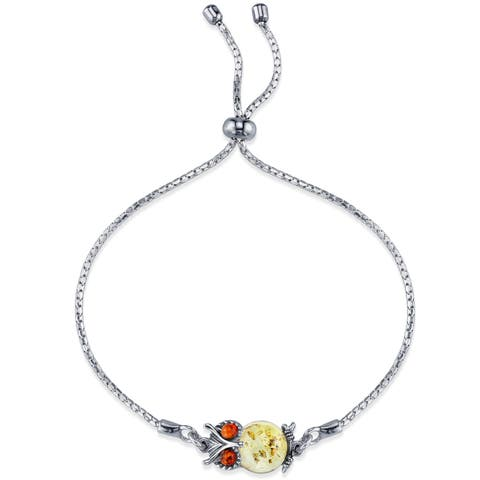 Oliveti Sterling Silver Multi Color Baltic Amber Adjustable Owl Bracelet up to 8 inches