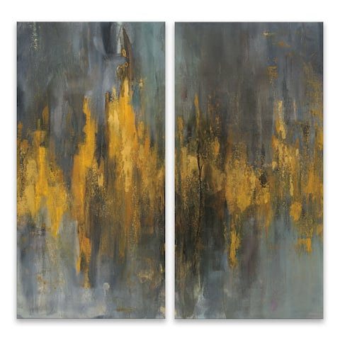 """""""Black and Gold Abstract Diptych"""" Acrylic Wall Art - Set of 2, 15W x 30H x .75D each - Multi-color"""