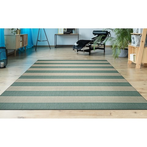 Couristan Afuera Yacht Club Sea Mist-Ivory Indoor/Outdoor Area Rug - 2' x 3'7""