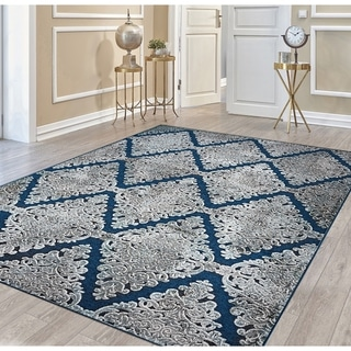 "Couristan Ciré Victoria Mansion Monarch Blue Runner Rug - 2'7"" x 7'6"" runner"