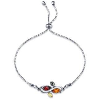 Oliveti Sterling Silver Multi Color Adjustable Swirl Leaf Bracelet up to 8 inches - Multi Color