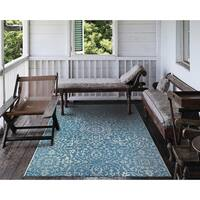 Carriage House Medallion/Blue-Ivory Indoor/Outdoor Area Rug - 8'6 x 13'