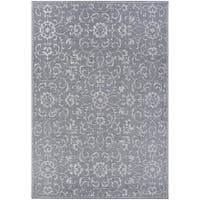 Carriage House Morning Glory/Dark Gray-Ivory Indoor/Outdoor Area Rug - 5'10 x 9'2