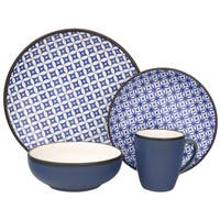 Sango Crystal Blue and Grey Stoneware 16-piece Dinnerware Set
