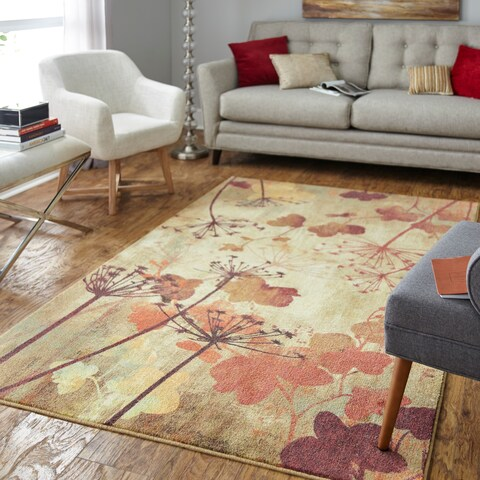 Silver Orchid Hinding Prismatic Autumn Branches Area Rug - 8' x 10'