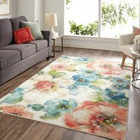 Mohawk Prismatic Summer Bloom Blue/Red/White Area Rug - 8' x 10'