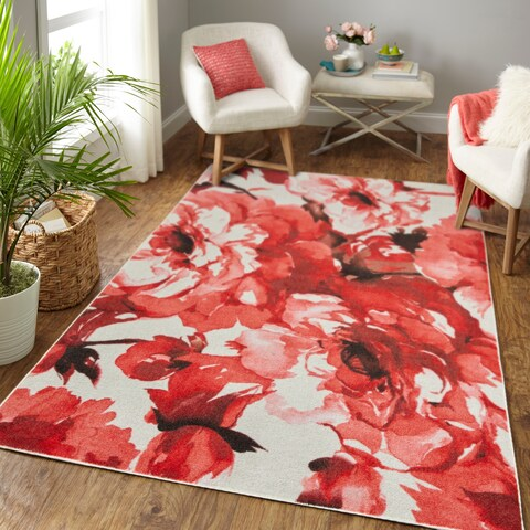 Silver Orchid Hinding Prismatic Rose Garden Area Rug - 8' x 10'