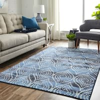 Silver Orchid Hinding Prismatic Batik Ogee Area Rug - 5' x 8'