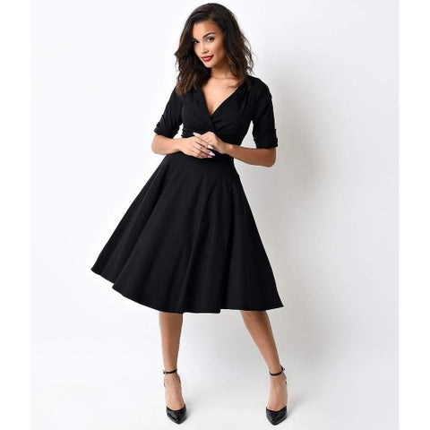 Unique Vintage Black Delores Swing Dress